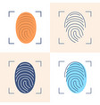 fingerprint scan icon set in flat and line style vector image vector image
