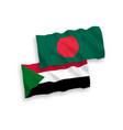 flags sudan and bangladesh on a white