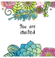 floral invitation card flowers and leaves vector image vector image