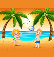 girl and a boy playing volleyball at beach vector image vector image