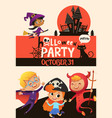 halloween party invitation template with adorable vector image vector image
