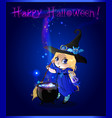 happy halloween card with cute witch girl with vector image