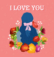 happy valentines day with girl and blooming vector image vector image