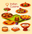 indian cuisine lunch with dessert cartoon icon vector image vector image