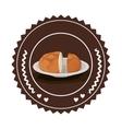 Isolated bread inside seal stamp design vector image vector image