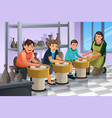 kids in pottery class vector image