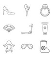 lovely girl icons set outline style vector image vector image