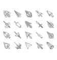 mouse cursor charcoal draw line icons set vector image vector image