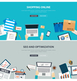 online shopping concept with seo optimization vector image