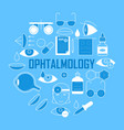 ophthalmology banner with outline pictograms vector image