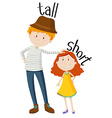 Opposite adjectives tall and short vector image