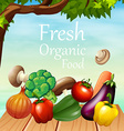 Poster design with many vegetables vector image vector image