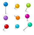 realistic detailed 3d colorful push pins different vector image