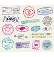 Romantic postage stamp set for valentines vector image