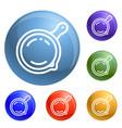 saute pan icons set vector image