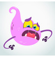 scared cartoon flying monster blob vector image vector image