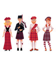 Scottish people in traditional national costumes
