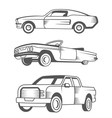 set muscle car vintage car and pickup truck vector image