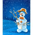 smiling snowman in winter night vector image vector image