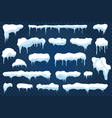 snow caps snowdrifts and snowflakes with icicles vector image vector image