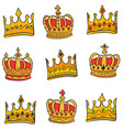 style gold crown doodle set collection vector image vector image