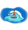 surfer riding wave with red board image vector image vector image