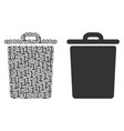 trash bin composition of binary digits vector image