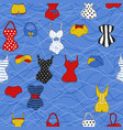 trendy seamless pattern with cute swimsuits vector image vector image