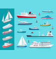 water transport ships traveling means set vector image vector image