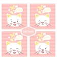white kitten face set cards vector image vector image