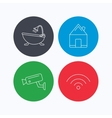 Wifi video camera and real estate icons vector image vector image