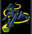 witch skateboarding vector image