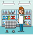 woman worker supermarket with shopping cart and vector image vector image