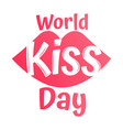 world kiss day with kiss icons on white vector image