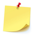 yellow sticker pinned red pushbutton vector image vector image