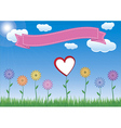 Flower with heart sky and ribbon vector image