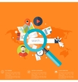 Flat loupe icon SEO Search engine optimization vector image