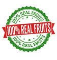 100 real fruits sign or stamp vector image