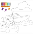 Coloring page with octopus in the sea vector image