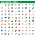 100 social icons set cartoon style vector image vector image
