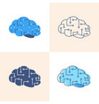 Artificial intelligence icon set in flat and line