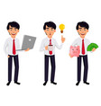 asian business man concept of cartoon character vector image