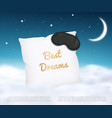 banner design with white pillow and sleep mask and vector image vector image