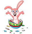 bunny hatching from easter egg vector image vector image