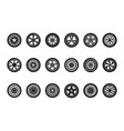 car wheel collection automobile tire silhouettes vector image vector image
