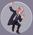 cartoon man in a suit with a tie crouches in vector image