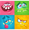 cartoon monster faces set for halloween vector image
