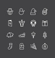collection christmas ornament icons on black vector image