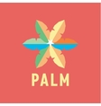 colored leaf palms with slits form stars in the vector image