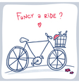 Cute sketch of bicycle with basket valentine card